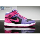 Girls Air Jordan 1 Retro Purple Pink Black Sneakers