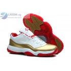 wholesale Air Jordan 11 Low Ray Allen White Gold Sneakers
