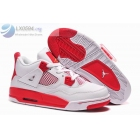 wholesale Air Jordan 4 Womens White and Red Basketball Shoes