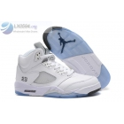wholesale Air Jordan 5 White Metallic Silver Mens Sneakers