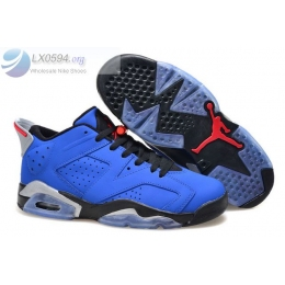 Air Jordan 6 Low Blue Black Silver Mens Sneakers