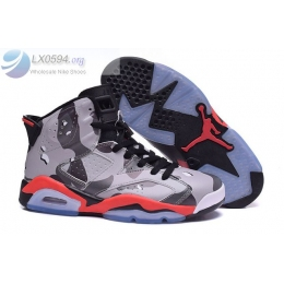 Air Jordan 6 Grey Red Camo Womens Sneakers