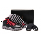wholesale Air Jordan 10 PSNY Black Red Grey Womens Sneakers