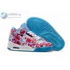 wholesale Air Jordan 3 Pink Flower Pattern Girls Sneakers