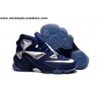 wholesale Nike LeBron 13 Blue Silver Mens Basketball Shoes