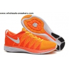 wholesale Nike Flyknit Lunar 2 Orange White Mens Running Shoes