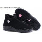wholesale Womens Air Jordan 14 Winterized All Black Shoes