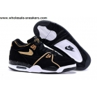 wholesale Womens Nike Air Flight 89 Black Gold Shoes