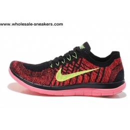Nike Free 4.0 V2 Flyknit Red Black Mens Running Shoes