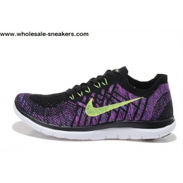 Womens Nike Free 4.0 Flyknit Black Purple Running Shoes