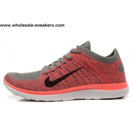 Womens Nike Free 4.0 Flyknit Pink Grey Running Shoes