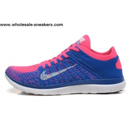 Womens Nike Free 4.0 Flyknit Blue Pink Running Shoes