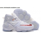 Nike LeBron 13 White Red Mens Basketball Shoes