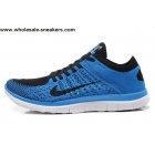 wholesale Nike Free 4.0 Flyknit Blue Black Mens Running Shoes