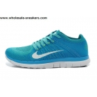 wholesale Womens Nike Free 4.0 Flyknit Blue White Running Shoes