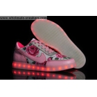 wholesale Womens Nike Air Force 1 Led Lights Pink Flower Print