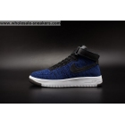 wholesale Mens and Womens Nike Air Force 1 Flyknit Blue Black White