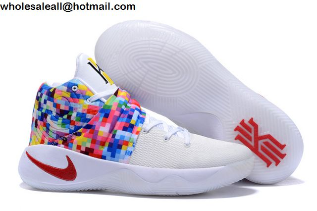 Mens  Womens Nike Kyrie 2 White Rainbow Basketball Shoes