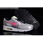 wholesale Womens Nike Air Max 90 GS Metallic Silver Hyper Pink Shoes