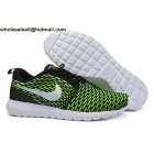wholesale Nike Flyknit Roshe Run Green Black White Mens Running Shoes