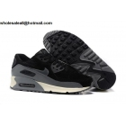 wholesale Mens & Womens Nike Air Max 90 Leather Black Grey