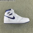 wholesale Mens & Womens Air Jordan 1 High OG White Metallic Navy