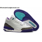wholesale Mens Nike Air Jordan 3 White Purple Blue Cement