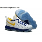 wholesale Nike KD 9 Warriors White Yellow Blue