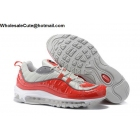 wholesale Supreme Nike Air Max 98 Red Silver Mens Running Shoes
