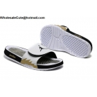 wholesale Jordan Hydro 5 White Black Gold Mens Slide Sandals