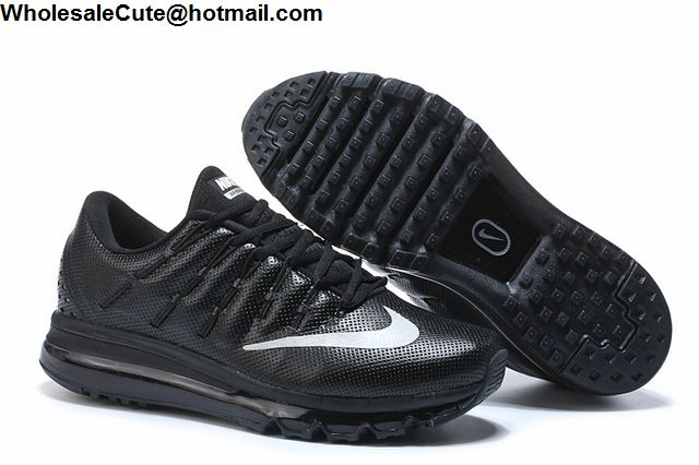 Mens   Womens Nike Air Max 2016 Leather Black Silver -13875 ... fb2878876e