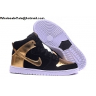 wholesale Mens & Womens Nike SB Dunk High Pro Spot Black Gold White