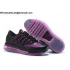 wholesale Womens Nike Air Max 2016 Leather Black Purple Running Shoes