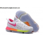 Nike KD 9 White Pink Volt Mens Basketball Shoes