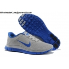 Nike Free 4.0 Suede Grey Blue Mens Running Shoes