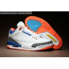 wholesale Mens Air Jordan 3 Retro White Blue Orange Cement