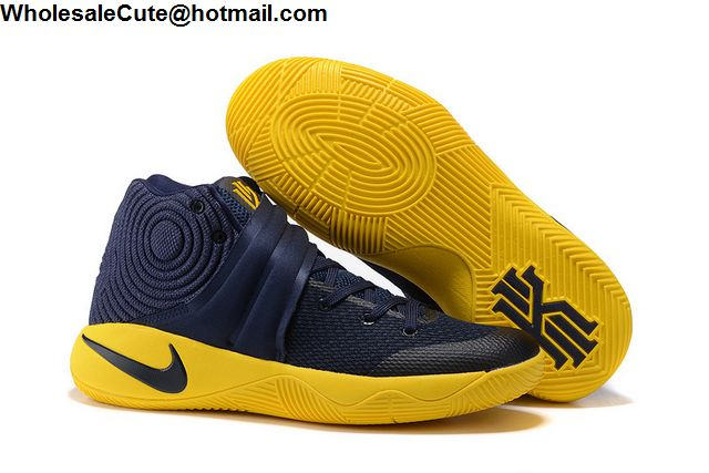86e8bf866795 Mens   Womens Nike Kyrie 2 Cavs Playoff Navy Blue Yellow -14259 ...