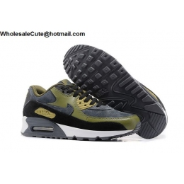 Mens Nike Air Max 90 Leather Grey Black Army Green