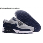 Nike Air Max 90 Essential Grey Dark Blue Mens Running Shoes