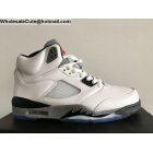 wholesale Air Jordan 5 Retro White Grey Black Mens Basketball Shoes