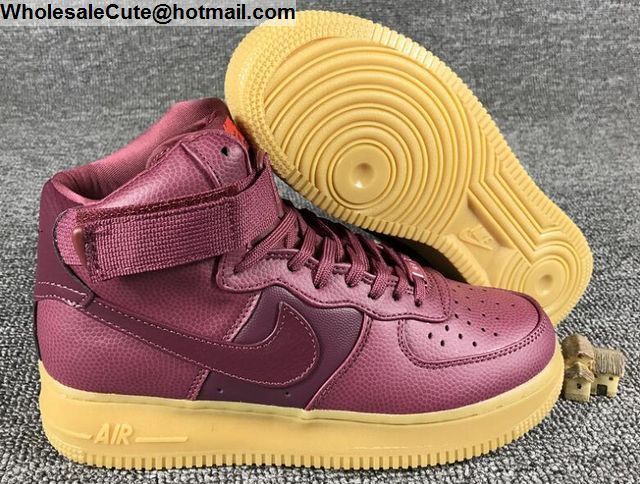 New Style Nike Wmns Air Force 1 Hi SE Night Maroon 860544 600 Women's Men's Casual Shoes Sneakers