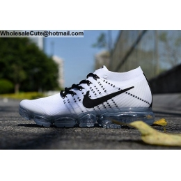 Nike Air VaporMax Flyknit White Black Mens Running Shoes