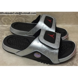 Jordan Hydro 13 Retro Silver Black Mens Slide Sandals