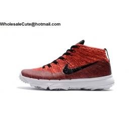 Nike Flyknit Chukka Mens Golf Shoes Red Black White