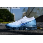 Nike Air VaporMax Flyknit White Blue Mens Running Shoes