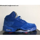 wholesale Air Jordan 5 Blue Suede Mens Basketball Shoes