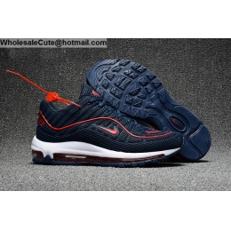 Supreme Nike Air Max 98 Mens Running Shoes Dark Blue Red White
