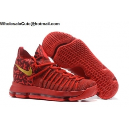 Nike Zoom KD 9 Elite Mens Basketball Shoes Red Gold