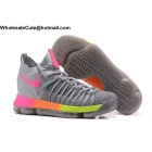 wholesale Nike Zoom KD 9 Elite Mens Basketball Shoes Grey Rainbow