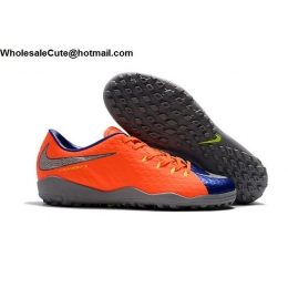 Mens Nike Hypervenom Phantom Premium TF Blue Orange Silver
